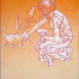2008_05_Two Cats On The Pavement_H105cm X W70cm_DSC01822